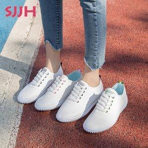 SJJH Femmes Blanc Flats avec semelle souple Chaussures souples avec Casual plat talon A2006 CX200722