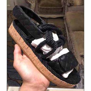 Nouveau style Plage Chaussons cuir Mules Sandales Compensées Casual Mocassins Mode Outdoor Summer Ladies chanvre Corde Sandal