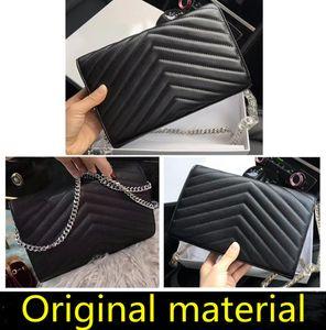 Сумки высшего качества из натуральной кожи Мода Crossbody мешок металла цепи сумки бумажник женщин откидная крышка сумки плеча диагональ кошелек с BOX