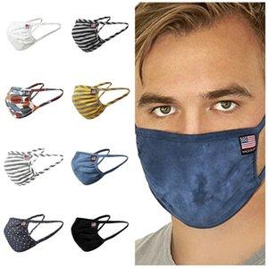 chaud adulte Stripe visage masque oreille lavable en coton couleur unie suspendu contre la brume masque anti-poussière Masques Designer T2I51172