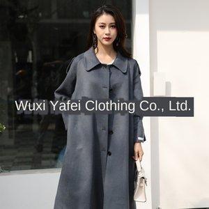 Dan Yafei nueva de doble cara en lana de lana Escudo de un solo pecho de Corea extendió a doble cara de la mujer delgada capa de la cachemira