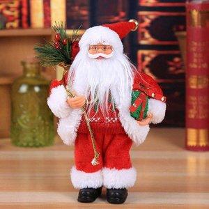 Weihnachten Sitzen Ornament Simulierte Weihnachtsmann-Puppe Old Man-Maske Plüsch Figur Spielzeug Animierte Puppe Weihnachtsgeschenk Dekoration Startseite kOT2 30cm C3 #