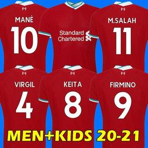 20 21 LVP Camiseta de fútbol SALAH FIRMINO Camiseta de fútbol 2020 2021 VIRGIL MANE KEITA 2020 2021 Liverpool Hombres + Niños Kit uniforme