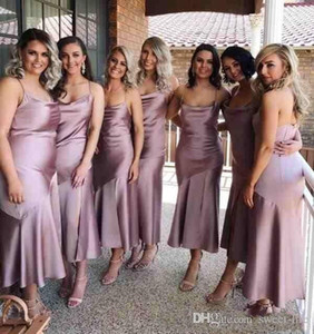 2021 Sexy Bridesmaids платье Страны Бич чай Длина Гость бретельки платье невеста Split Свадьбы официально платье