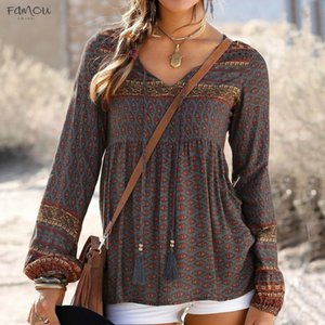 Long Sleeve Blouses Women Autumn Polyester Winter Bohemian Vintage Print Ladies Daily V Neck Blouses Shirts Women Tops Camisa Femenina
