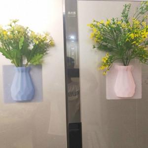 Duvar DW103 74Xi # üzerinde Mobilya Ev Dekorasyonu için 1 adet Buzdolabı Sticker Simüle Çiçek Vazo Bitki Buzdolabı