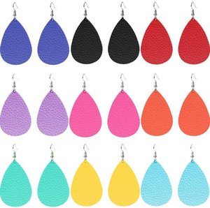Hot Sale Women Trendy PU Leather Teardrop Water Drop Dangle Earrings 9 Colors