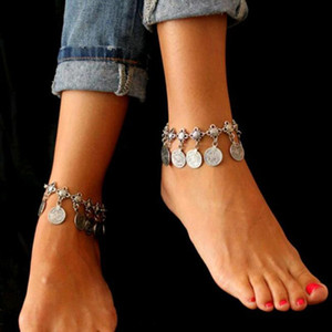 Women Anklets Bohemian Metal Tassel Anklet Luxury Charm Coin Ankle Bracelet For Women Jewelry Summer Style