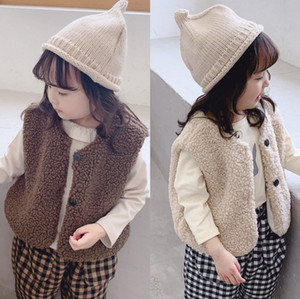 Baby Girl Waistcoat Furry Girls Vest Coats Sleeveless Toddler Jackets Winter Warm Children Outerwear Designer Baby Clothes 4 Colors DW4633