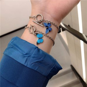 2020 Kpop Harajuku Personality Aesthetic Butterfly OT Buckle Titanium Steel Chain Bracelet For Women Egirl Bff Lovers Jewelry