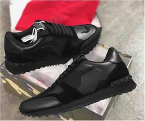 Neuer Mann-Frauen Stern verzierte beiläufige Schuh-Mesh-Leder Camouflage verzierte Läufer Schuhe Combo Stars Rock Metallic Schnürer Sneakers