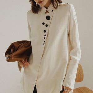 camicia di XUXI designer coreano, camicia di raso, di modo di autunno del collare alta manica lunga 2020 FZ0953
