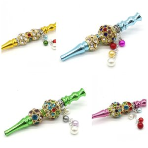 Bling Blunt Porte-tube coloré strass perles cigarette Holde Hookah Vente Shisha Creative main en alliage détachable Pendentif chaud 15kl D2