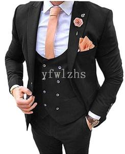 New Style One Button Handsome Peak Lapel Groom Tuxedos Men Suits Wedding Prom Dinner Best Man Blazer(Jacket+Pants+Tie+Vest) W221