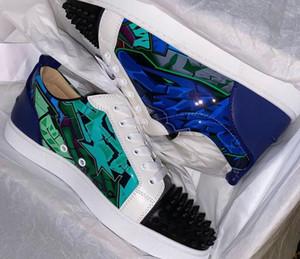Yüksek Top Sneakers Erkek Kadın Kırmızı Alt Sneakers Patent Deri Dikenler Casual Yürüyüş Lüks Tasarımcı Ayakkabı Flats EU35-47