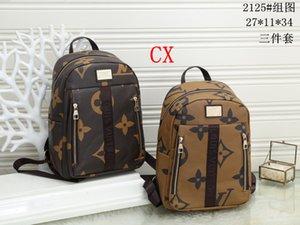 2020 Student Backpack Mens Female Backpack Hot Brand Double Shoulder Bags Male School Bags Leather Shoulder Bag Computer Bag 3PC