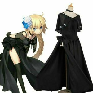 Anime Fate Grand Order Joan of Arc Black Evening Dress Cosplay Costume Party Set