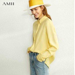 AMII Minimalisme Printemps Lin Chemise unie femmes causales boutonnage simple Lapel shirt loose Tops 12020024