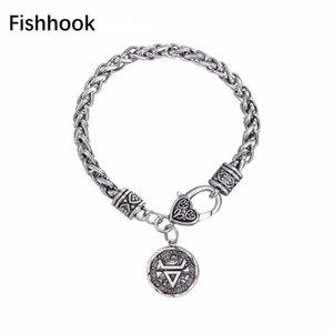 Anzuelo Dios de Veles pulseira masculina de Viking de la cadena de trigo joyería de la cadena Ronda brazaletes de las pulseras para la rueda de Sun de las mujeres pulsera
