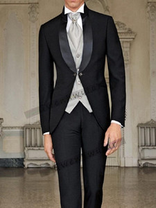 Bridalaffair New Arrival men tailcoat wedding suits for men groomsmen suits 3 pieces groom wedding suits peaked lapel