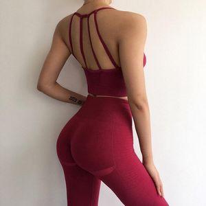 Designer Womens Yoga Suit Sportwear Tracksuits Fitness Yoga Sets Gym two Piece Set Clothes Bra Leggings backless indoor sports wear dance