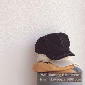 High quality fabric pure color cotton beret octagonal cloth children's octagonal Korean baby beret fashion hat pumpkin hat