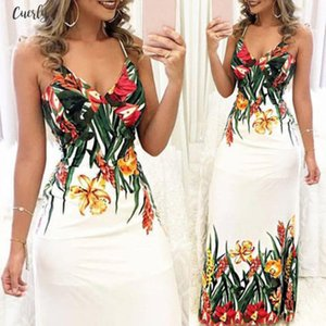 Female White Floral Print Sexy Lace Up V Neck Women Maxi Dresses Summer Pleated Backless Beach Long Boho Dress