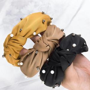 New Solid Pearl Knot Turban Headband Lady Wide Plastic Hairband for Women Bezel Headwear Girl Hair Accessories