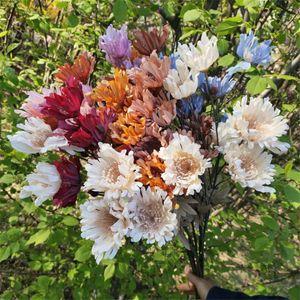 "Fake Long Stem Gerbera (6 heads piece) 26.77"" Length Simulation Autumn Chrysanthemum for Home Wedding Decorative Artificial Flowers"