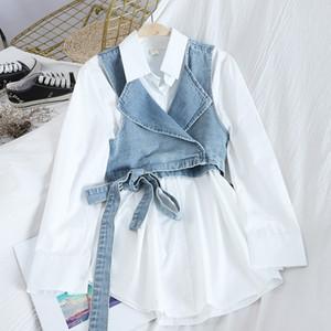 [EWQ] Женские джинсы жилет Офис Lady Spring Blouse Мода Корейский повседневный Свободный с длинным рукавом Повернуть воротник Сплошная рубашка