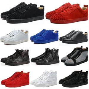 Sneakers Red inferior sapato Low Cut Suede Shoes pico para homens e mulheres sapatos de casamento festa de tênis de cristal de couro
