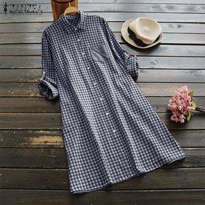 Повседневные платья Vintage Checked Рубашка платье 2021 Zanzea Женщины Кнопка халат Femme с длинным рукавом Женская Санктра Льня Мини Vestido Plus Размер