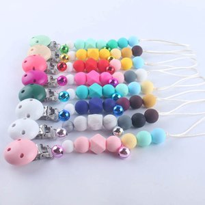 New bell Silicone and Wood Baby Pacifier Clips Newborn Chew Toys Infant Pacifier Chain Clips baby molar training baby teether B1660