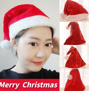 Santa Hat Velvet Christmas Hats for Adults and Kids Xmas Santa Hats Cap sequins plush 4 styles Winter Xmas Cap Classic Red LJJK2426