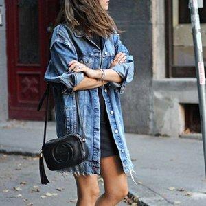 Kadın High Street Gevşek Denim ceketler Palto Uzun ceketler Ripped Tasarım Moda Denim Palto Bayan Kabanlar Ceketler WINDBREAKER glam # Tops