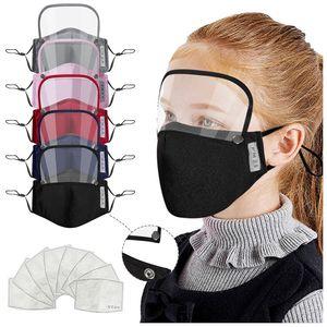 2 in 1 Mask Removable Eye Shield Mask Adult Valve Face Mask Kids Valve Full Face with 2pcs filter Designer Masks T2I51177