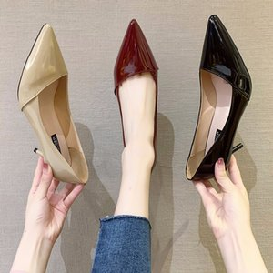 2020 Hot Women Shoes Pointed Toe Pumps Patent Leather Dress High Heels Boat Wedding Zapatos Mujer apricot Wine Red 6CM
