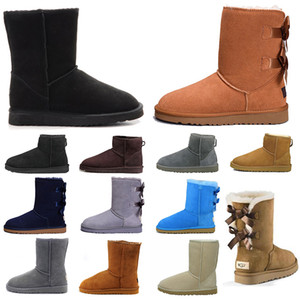 fashion women boots classic australia short mini ankle knee boots triple black Khaki Beige new arrival bailey bow winter snow booties 36-41
