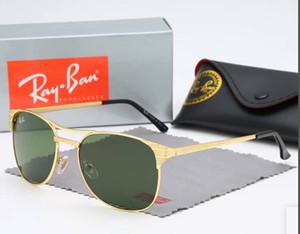 2020 Flieger-Sonnenbrillen Designer-Weinlese-Pilot ray Schutz der Frauen Männer Männer Frauen Wayfarer Sonnenbrille Verbot mit Kastenkasten