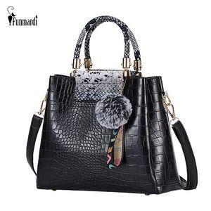 FUNMARDI Handbag Mulheres Jacaré dos retalhos Shoulder Bag Crossbody New PU Mulheres Bolsa Tronco Tote Hairball WLHB2025