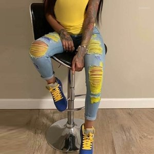 Women Ripped Jeans Yellow High Waisted Jeans Female Denim Trousers Summer Vintage Hollow out Plus Size Pants