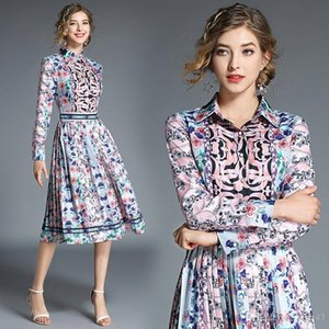 2020 New Listing Women's Spring and Summer Dresses High Quality Fashion Lapel Print Long Sleeve Pleated Dress