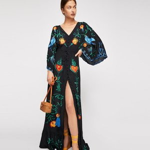 Jastie 2020 Primavera Outono Mulheres vestido solto Casual Kimono Vestidos florais bordados Maxi vestido Boho Ruffle Hem Praia Vestidos