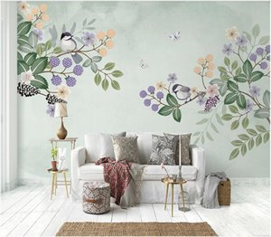 3D murals wallpaper cloth custom photo Nordic hand-painted fresh flowers and birds sofa TV background 3d landscapes room wallpaper for walls