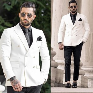 Fashion Double Breasted Wedding Tuxedos Slim Fit Peaked Lapel Mens Designer Jacket Formal Party Prom Suits Wear (Jacket+Pants)