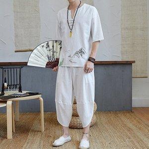 Sinicism Store Erkek Seti Casual Suit Pamuk Keten Tişörtlü Adam Şort Oversize Erkekler tişört Erkek 2020 Yaz Nakış Eşofman SdLQ #