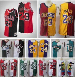 Männer Retro-Basketball Jersey James 12 Morante 33 Pippen 33 Byrd 1 McGrady 15 Carter Split-Patchwork Farbe Basketball Jersey