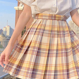 Check Pattern Uniform Cosplay Pleat Plaid Skirts Fashion Mini Homecoming Skirt A Line JK04 Party Cocktail Dress Yellow Girls Dresses