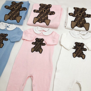 envío libre del resorte del bebé ropa del otoño al bebé recién nacido niña algodón Romper la manta hecha punto del mono ropa sólidas equipo caliente pañales