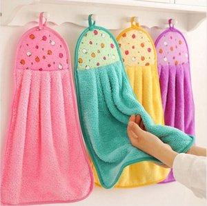 Serviette de Hanging Cuisine Salle de bain Intérieur épais chiffon doux Wipe Serviette molleton vaisselle Tissu Cartoon propre serviette Accessoires DHC354